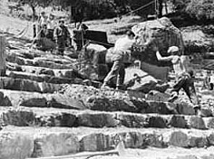 photo of workers building The Mountain Theater at Mount Tamalpais